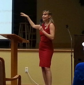 Heidi public speaking red dress2 UP CLOSE