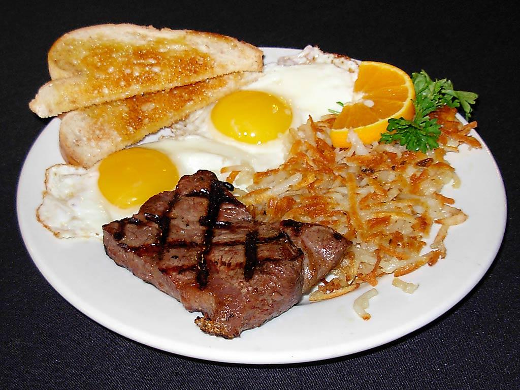 steak eggs hashbrowns