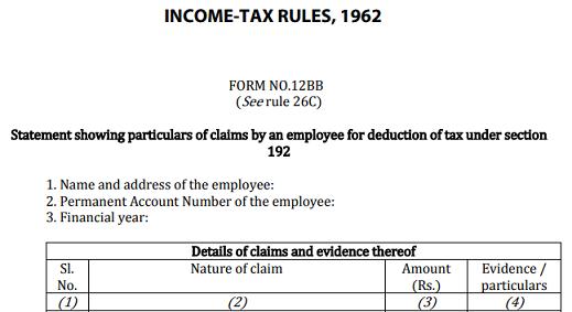 Form 12BB declaration for tax deduction