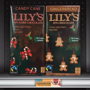 Lilly's Candy Cane Dark Chocolate and Gingerbread Chocolate Bars