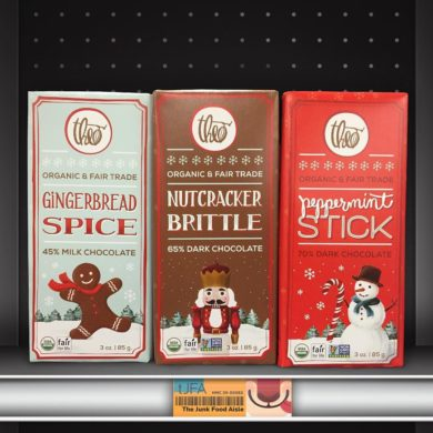 Theo Gingerbread Spice, Nutcracker Brittle, and Peppermint Stick Chocolate Bars