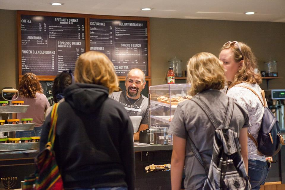 People gathering in the coffee house