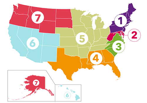 map of the us with 7 regional zones