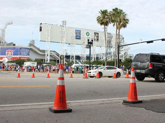 Acme Barricades orange cones used as temporary traffic control in Jacksonville FL