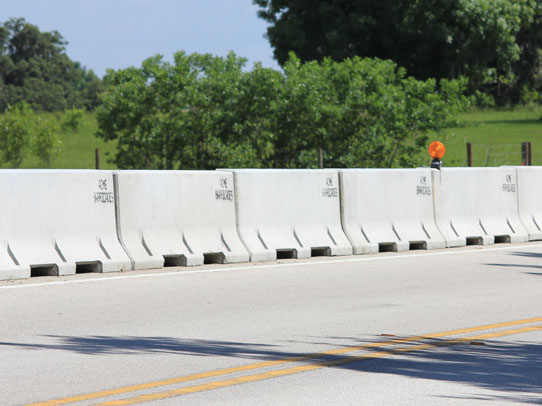 Concrete barricades used as a temporary barricade for traffic control in Florida
