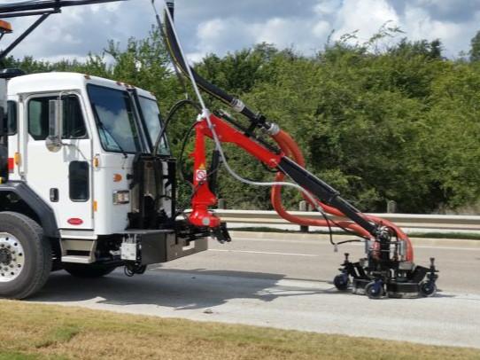 Pavement Marking Waterblasting removal truck