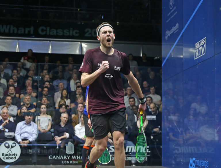 Ryan Cuskelly celebrates during the 2018 Canary Wharf Classic