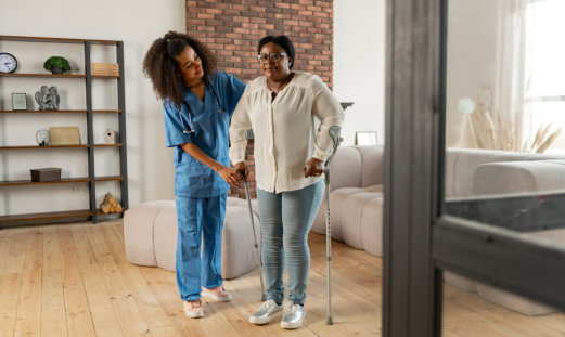 disabled woman with her caregiver