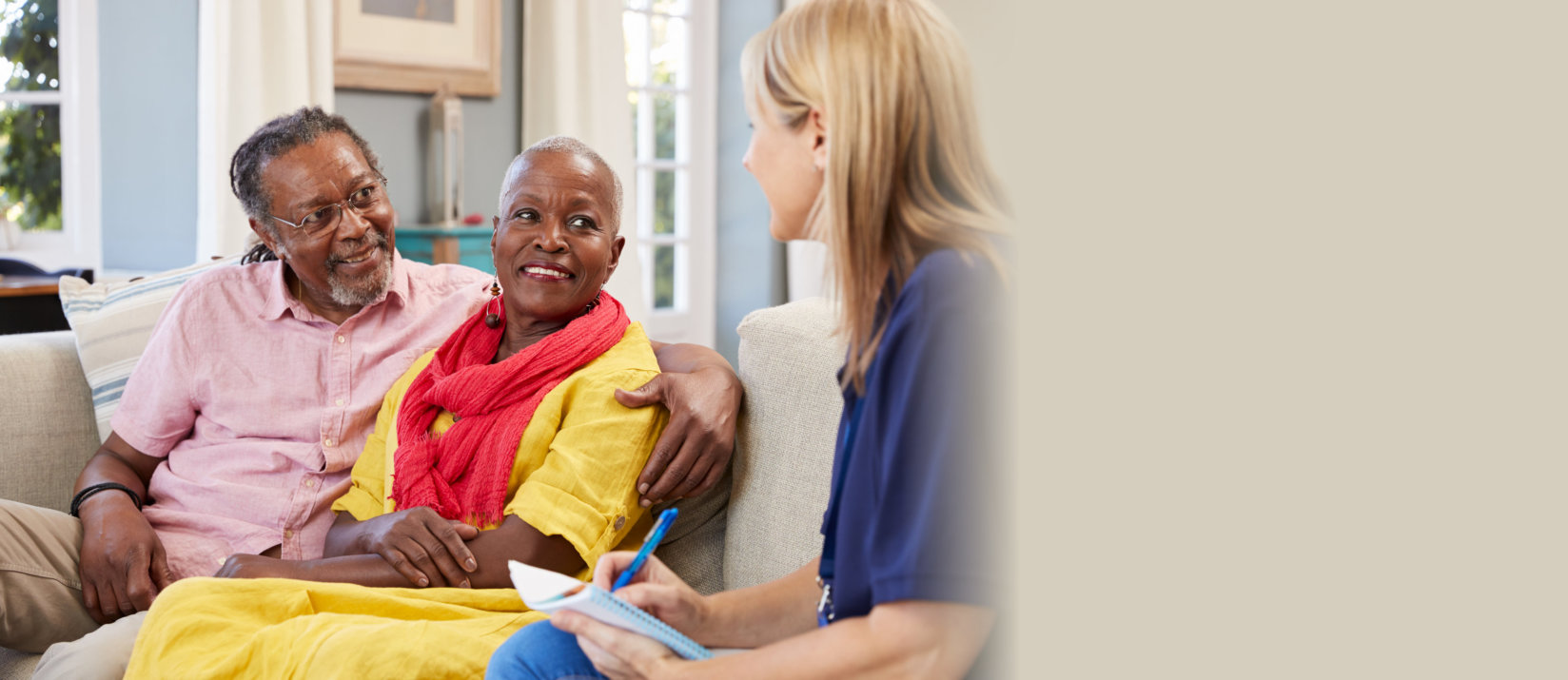 caregiver with to senior people