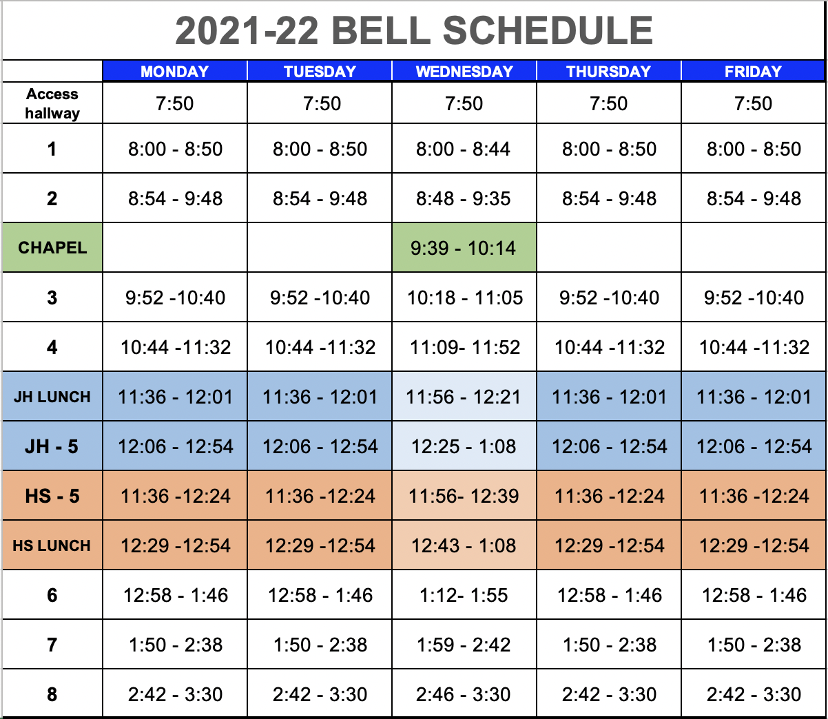 bell schedule secondary 2021-22