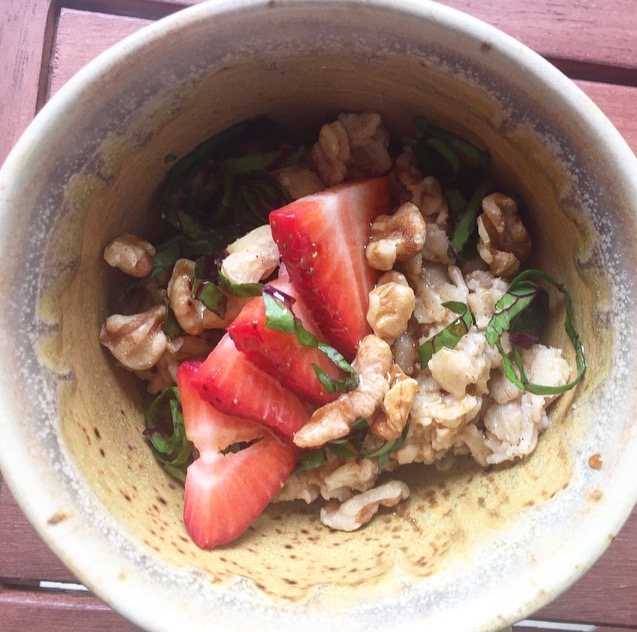 Oatmeal with Beet Greens, Walnuts and Strawberries with Balsamic Vinaigrette