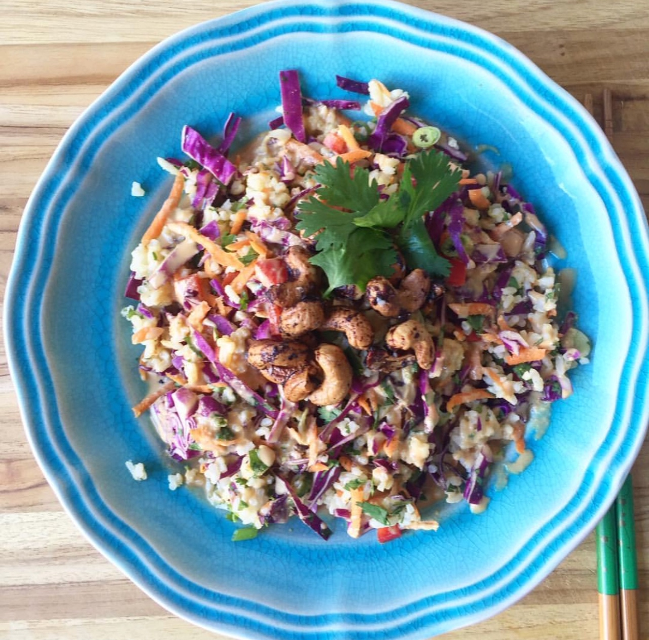 Thai Coconut Jasmin Rice Salad with Almond Butter Dressing