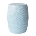 Robin's Egg Blue Glaze Stool $88 | Annie Selke