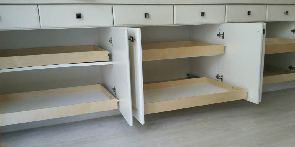 Kitchen counter pull-out shelves installed in Carlsbad, CA