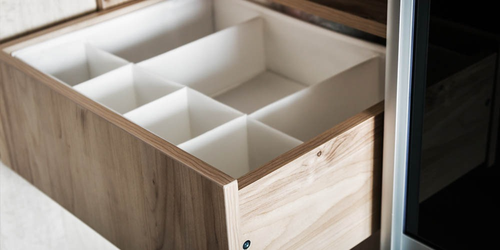 pullout shelf with organization dividers