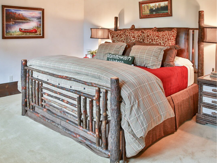 Lakeside-Living_Manitowish-Waters_Northwoods-WI_Bedding-Basics_Cabin-Bedroom_Rustic-Bed_Red-Quilt_Neutral-Duvet