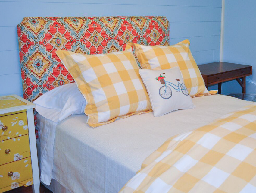 Lakeside-Living_Manitowish-Waters_Northwoods-WI_Bedding-Basics_Full-Size-Bed_Upholstered-Headboard_Plaid-Pillows-and-Duvet