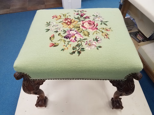 Sentimental restored floral needlepoint stool Manitowish Waters