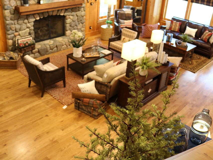 Lakeside-Living_Manitowish-Waters_Northwoods-WI_What-it-is-Really-Like-to-Work-with-an-Interior-Designer_Stone-Fireplace-in-Log-Cabin-with-Lake-Views