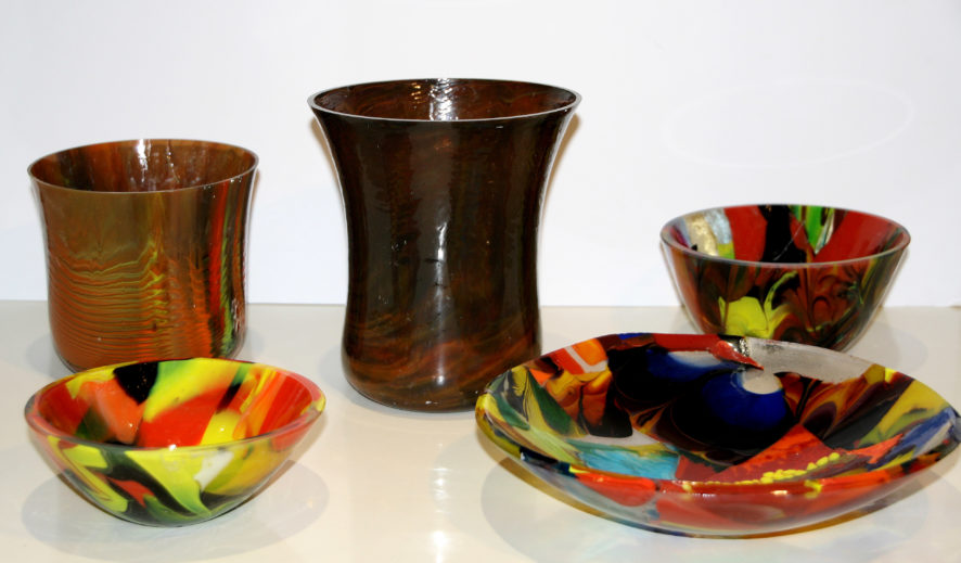 A few samples of bowls and dishes made with scrap pre-Fused glass.