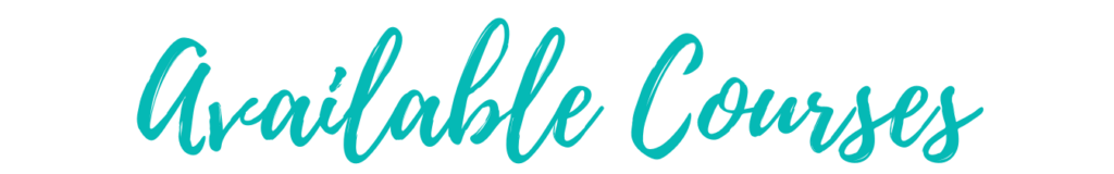 Teal lettering for Available Courses