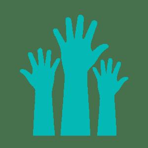Three teal hands raised