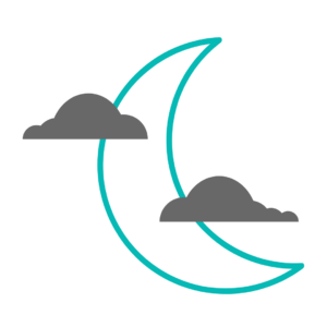 Teal outline of crescent moon and grey clouds