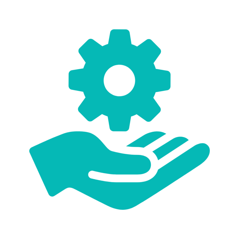 teal hand and hovering gear