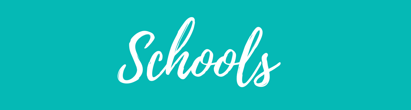 Teal banner with white letters of schools
