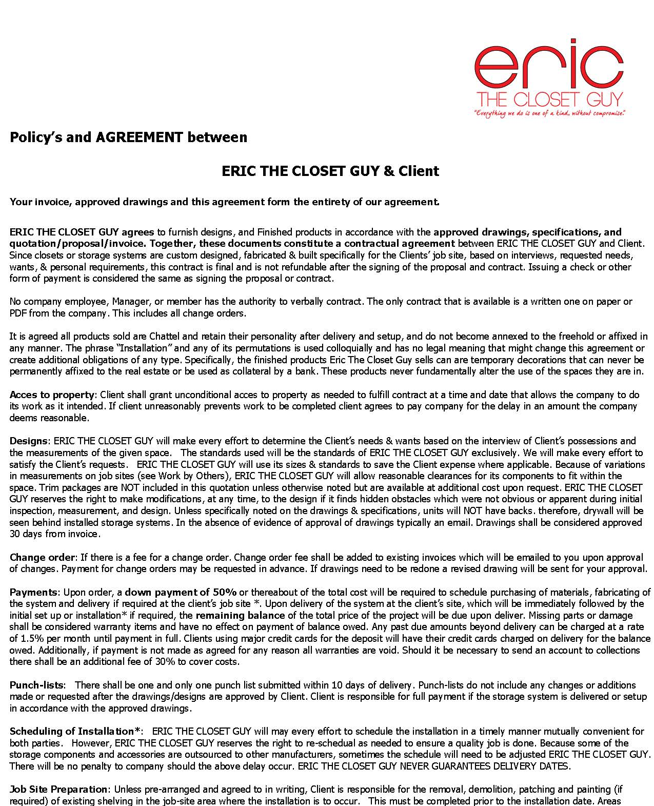 Policy's and AGREEMENT Page1
