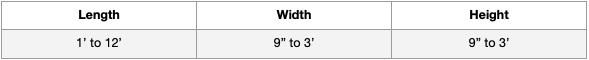 DuraWeld Standard Sizes