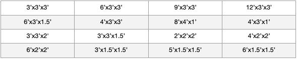 DuraGuard Standard Sizes