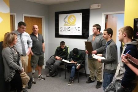 Teacher Sean McGeough and students from Warren County Technical School learning P&O technology at Sunshine P&O.