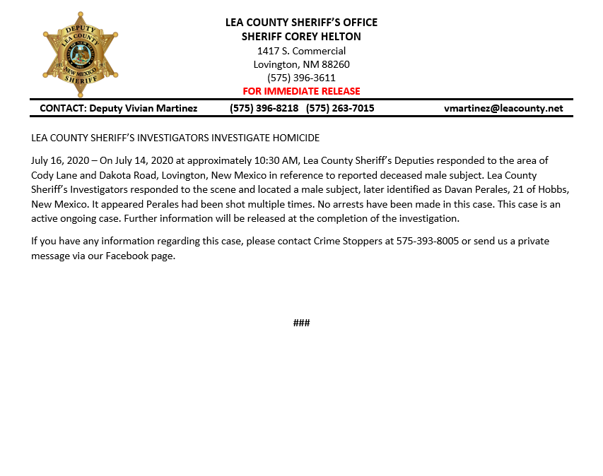 Lea County Sheriff's Department Request Assistance with a July 14th Homicide