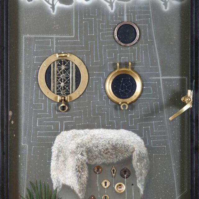 BLACK BOX Óleo sobre madera y objeto Oil on wood and object 71 x 150 cm