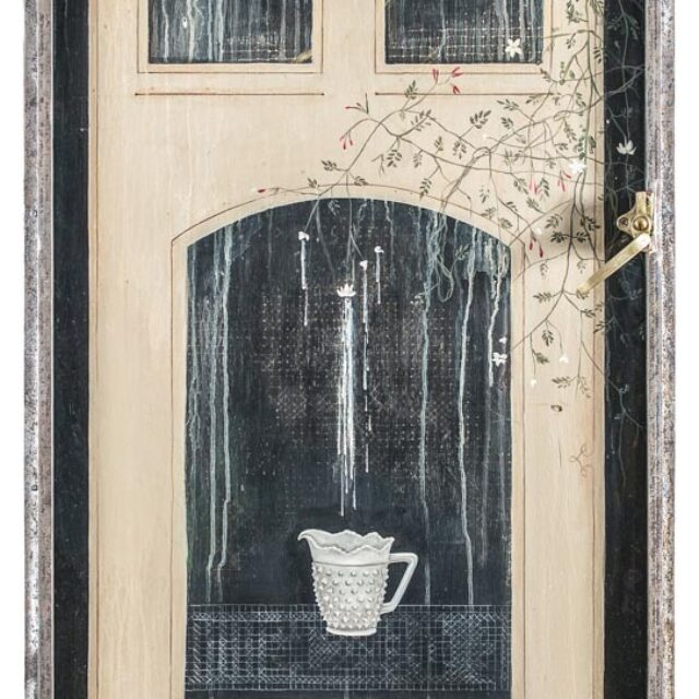 OF MILK Óleo sobre madera y objeto Oil on wood and object 150 x 71 cm