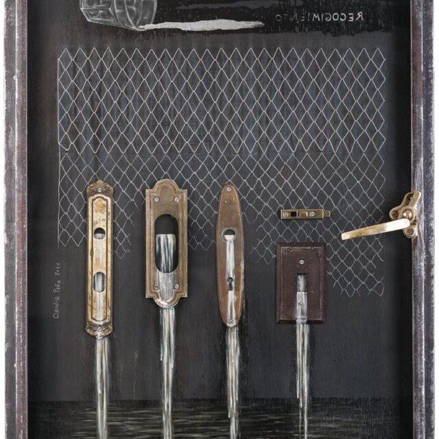SPILLAGE Óleo sobre madera y objeto Oil on wood and object 82 x 61 cm