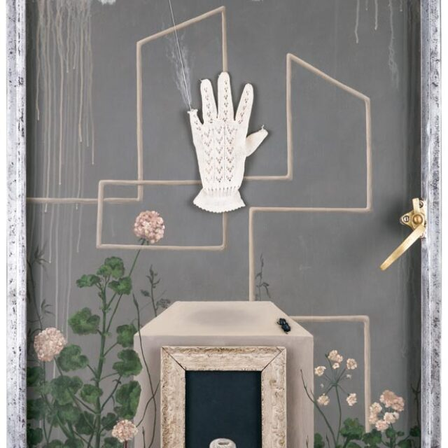 DETECTION Óleo sobre madera y objeto Oil on wood and object 150 x 71 cm