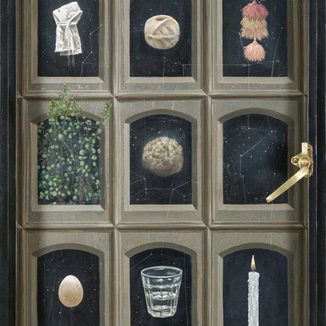 PANTEON 1 Óleo sobre madera y objeto Oil on wood and object 82 x 61 cm