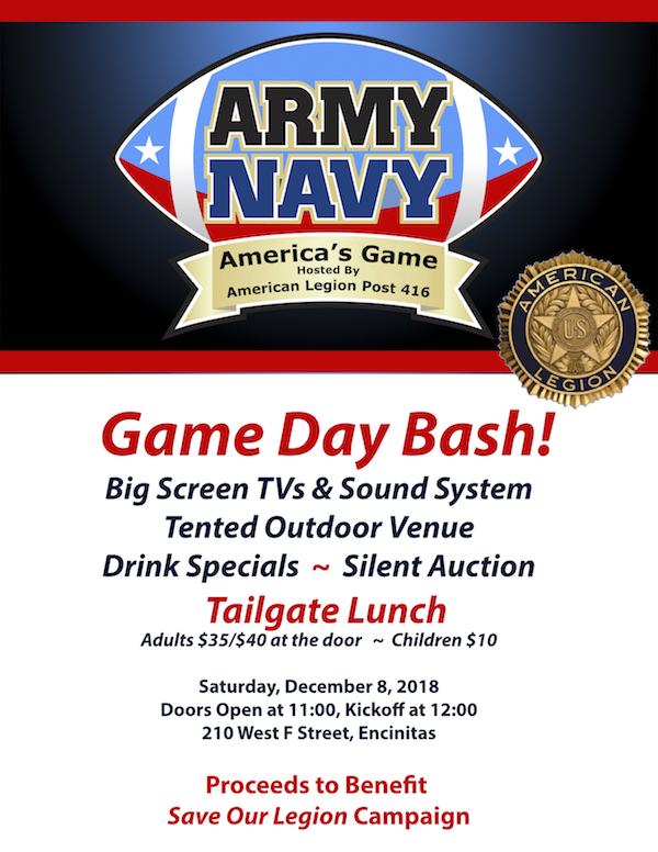 Army v. Navy Game fundraiser on Saturday, December 8, 2018
