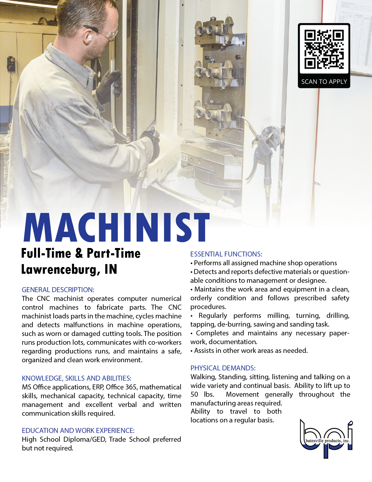 machinist job description