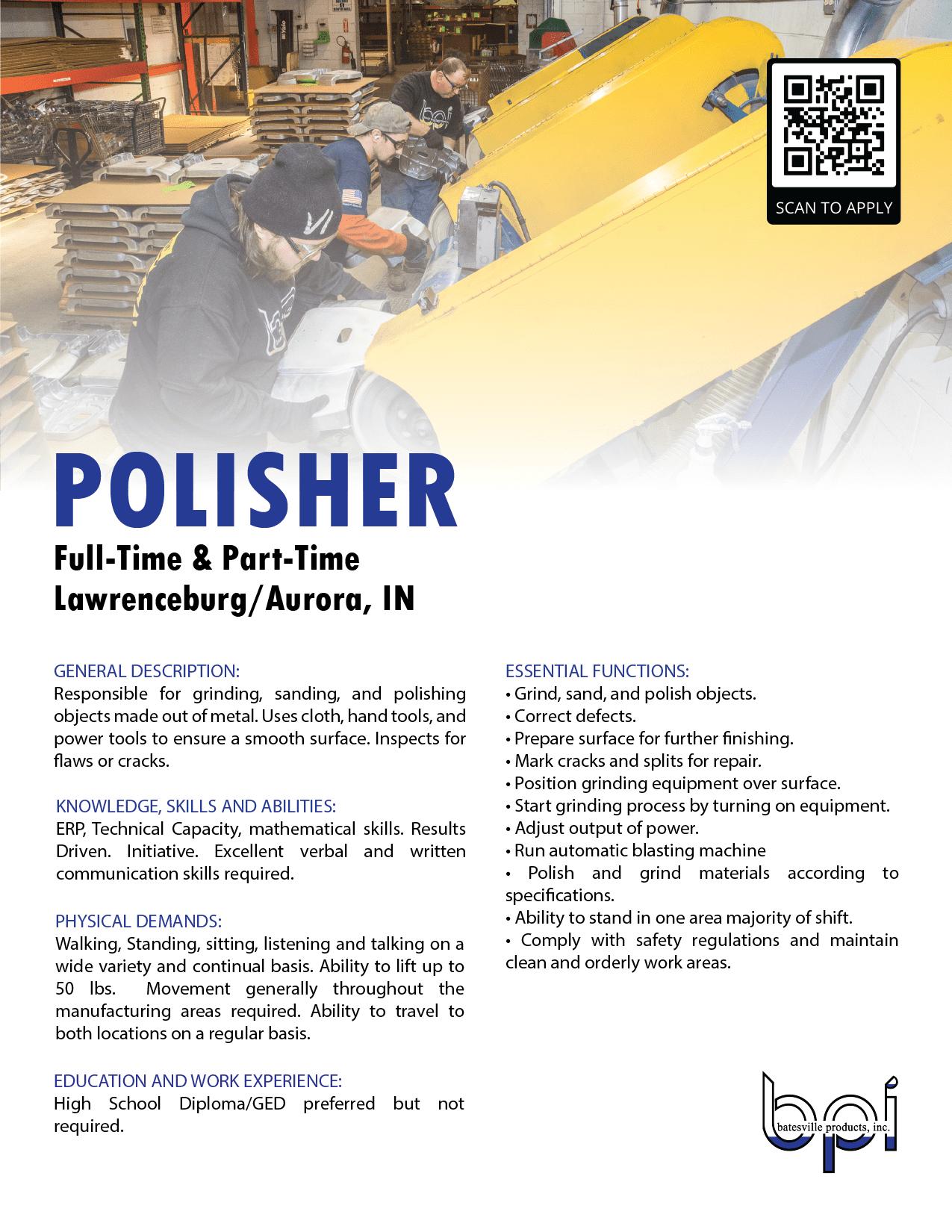 polishing job description