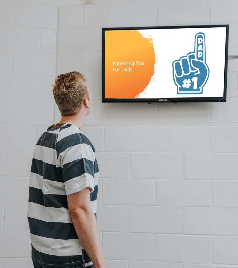 Rehabilitative content for inmates playing on a jail TV.