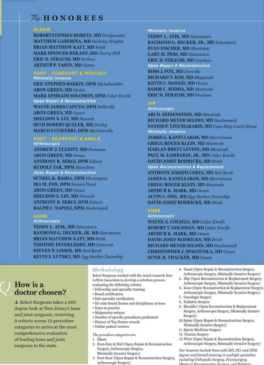 NJ Monthly Top Surgeons