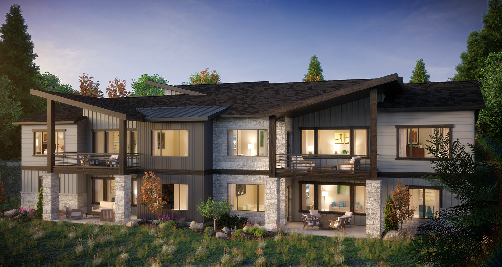 park city community with patio and mountain view