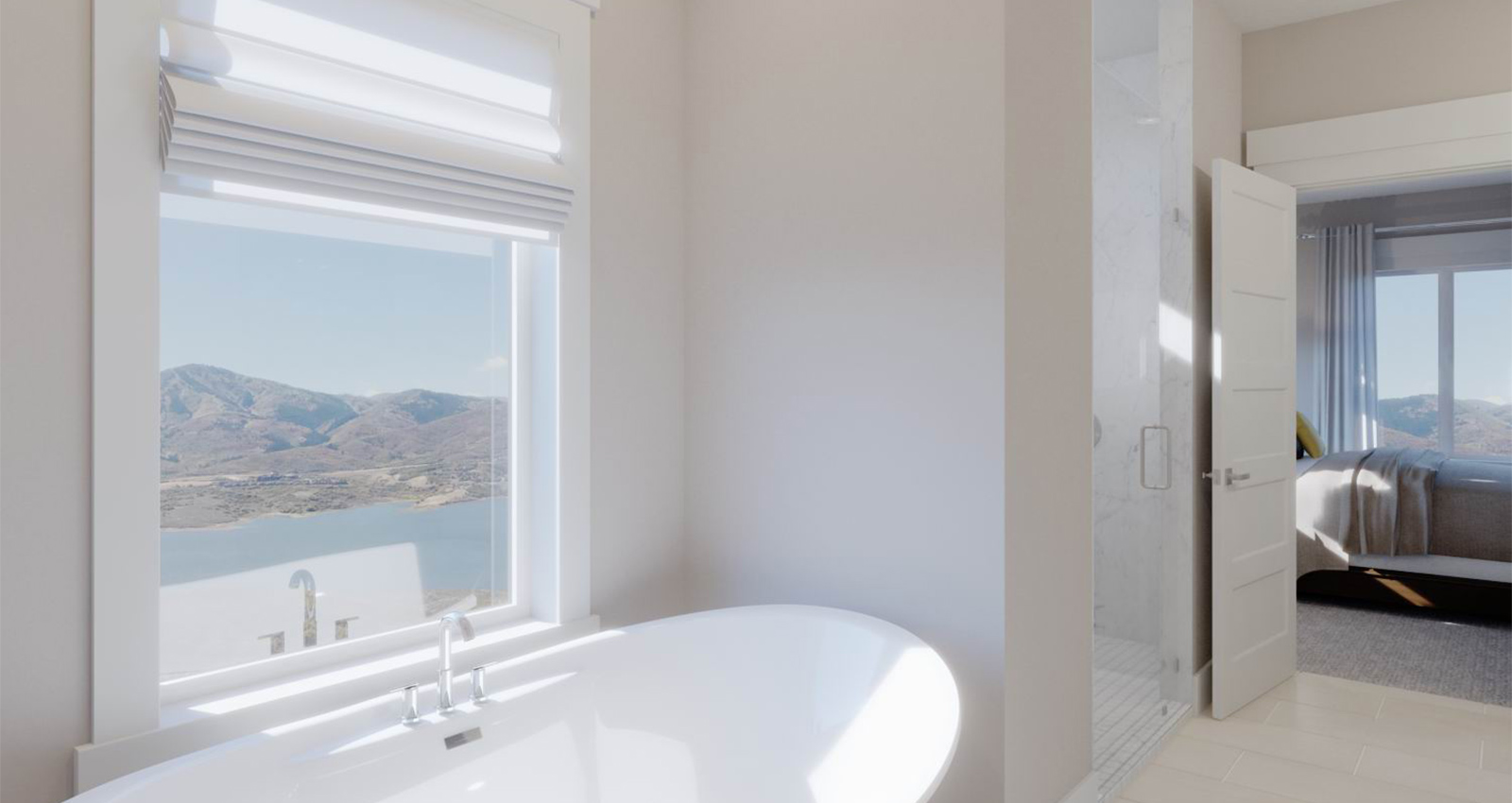 mountain view from luxury bathtub in gcd townhome