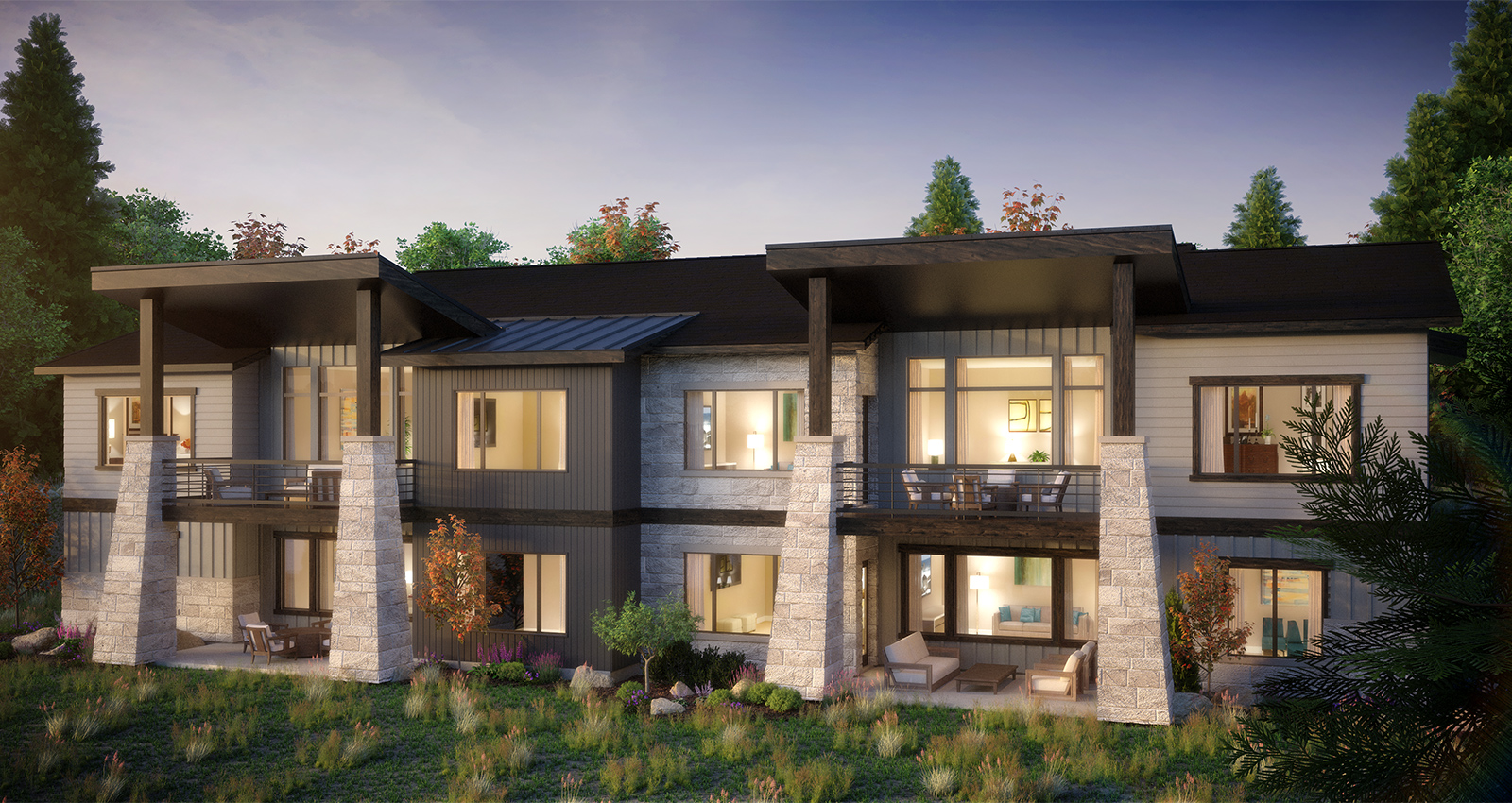 luxury townhomes with mountain view in park city