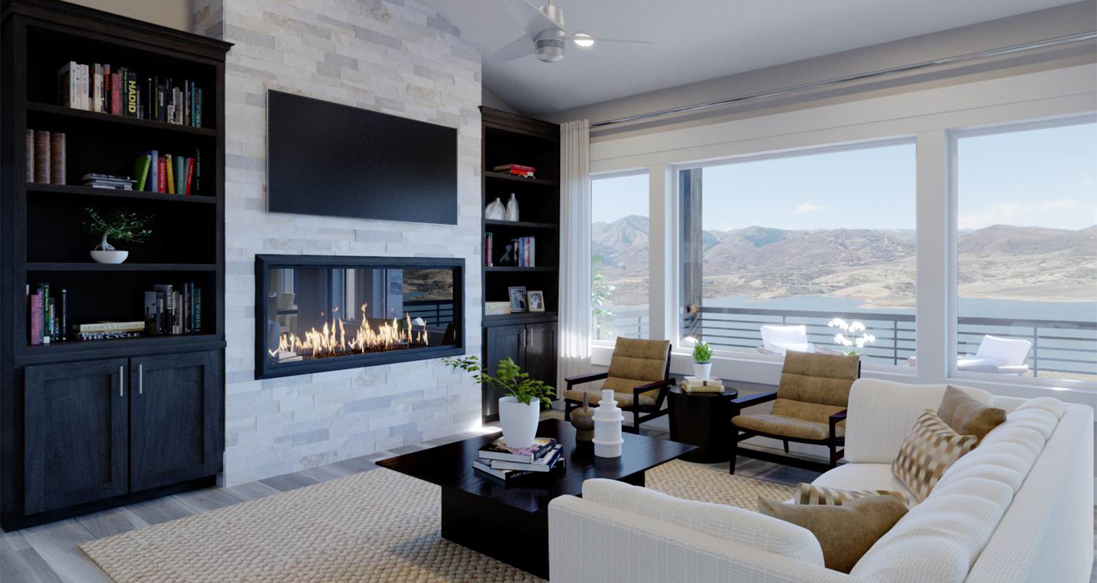 den in luxury townhome with mountain view