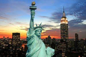 New York City skyline at dark