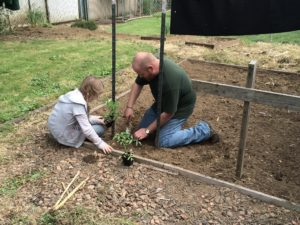 Father and daughter outside gardening